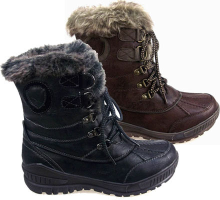 LADIES WOMENS SNOW SKI ANKLE BOOTS WINTER RAIN THERMAL - FULLY FUR LINED SIZES