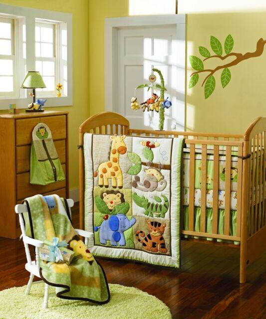 New 4pcs baby Crib Cot Bedding Set Quilt Bumper Sheet Dust Ruffle Forest