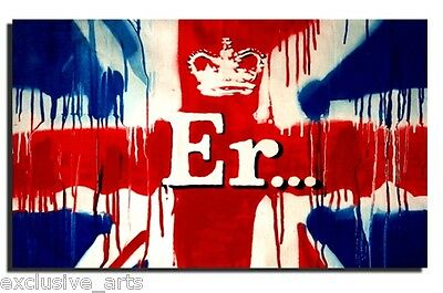 NEW BANKSY GRAFFITI QUEENS JUBILEE UNION JACK ER WALL ART CANVAS PRINT