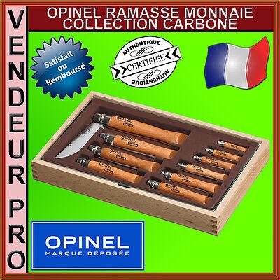 COFFRET CADEAU RAMASSE MONNAIE 10 COUTEAUX OPINEL CARBONE N2,3,4,5,6,7,8,9,10,12