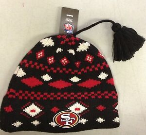 San-Francisco-49ers-Knit-Beanie-Toque-Winter-Hat-REEBOK-NEW-NFL-with-tassel