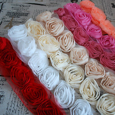 1m Chiffon 3D Rose Flower Lace Trim Trimmings Bridal Doll - Cream White Pink Red