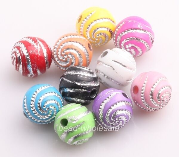 200pcs Wholesale Various Colors Acrylic Spiral Bead Loose Spacer Beads 10mm