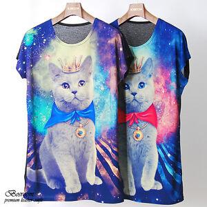 BR-Unisex-women-men-Galaxy-cat-graphic-print-t-shirt-long-rock-punk-top-2colors