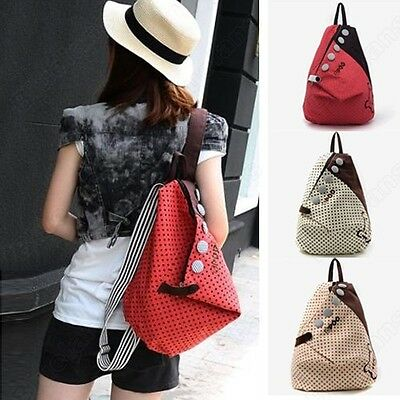 Girls Canvas Backpack Rucksack Womens School Shoulder Bag Shopper Hiking Bookbag