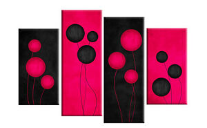 DEEP-FUCHSIA-PINK-AND-BLACK-ABSTRACT-CANVAS-PICTURE-ART-SPLIT-MULTI-4-PANEL-40-034