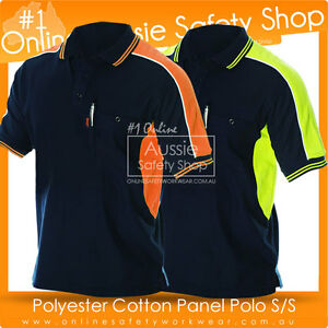 HI-VIS-POLO-SHIRT-TWO-TONE-PANEL-POLY-COTTON-WORK-WEAR