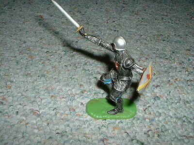Elastolin 70mm Mediaeval Armoured Knight lunging with sword- old production
