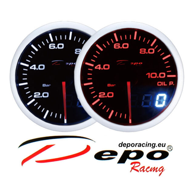 DEPO racing 60 mm Smoked 2 color Red and White Dual View Oil Pressure Gauge