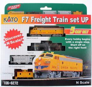 Kato-1066272-N-Scale-F7-Freight-Train-Set-Union-Pacific-5-car-set-New