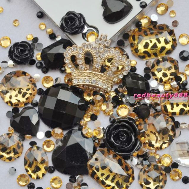 Deco Kit Cool Golden Leopard Crown Rose DIY Bling Case Cover For I Phone 4G 4S