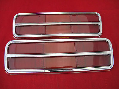 FORD FALCON XB GT GS COUPE REAR TAIL LIGHT LENSES CHROME SURROUND PAIR