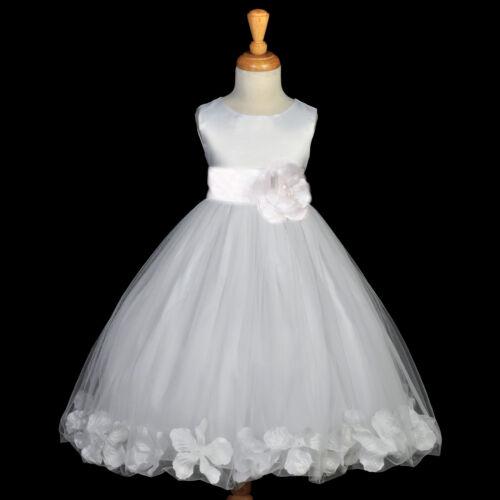WHITE COMMUNION PAGEANT EASTER WEDDING PETAL FLOWER GIRL DRESS 12-18M 2 4 6 8 10