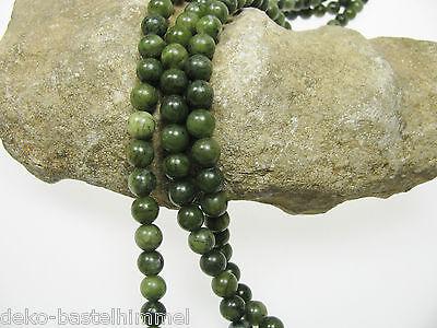 5 Jade Perlen in dunklem grün, 8 mm, Perlen, Edelstein, Perlen basteln