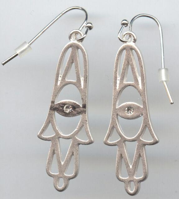 Modern Rhodium Plated & Clear Austrian Crystal Hamsa Dangle Earrings