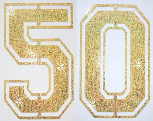 Tissu paillettes gold paires football numéro thermocollants Bling tshirt Transfert patch