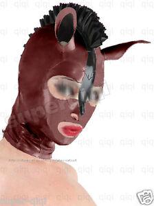 100-Latex-rubber-0-45mm-Horse-hood-mask-catsuit-suit-customize-unique-brown