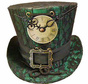 Steampunk-madhatter-Hand-made-green-black-lace-Top-Hat