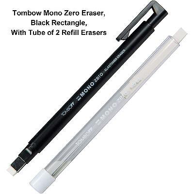 Tombow Mono Zero Eraser, Black Rectangle, With Tube of 2 Refill Erasers