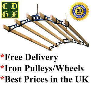 6-Lath-Victorian-Kitchen-Ceiling-Pulley-Clothes-Airer-Maid-Laundry-Dryer-Rack
