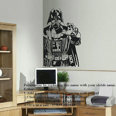 LARGE PERSONALISED DARTH VADER STAR WARS WALL ART STICKER IN CUT MATT VINYL