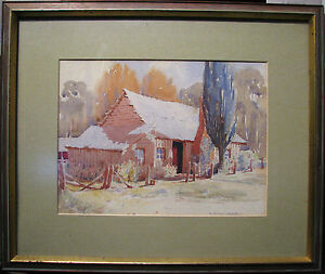 Daryl-E-Lindsay-rare-original-watercolour-titled-039-Hut-and-Poplar-039-Australia