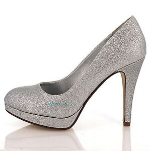Eiffel Silver Glitter Round Toe Dress Pump High Heel Party Women