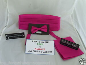 GROSGRAIN-Page-Boy-Wedding-Children-Shocking-Pink-Bow-tie-Cummerbund-Hankie