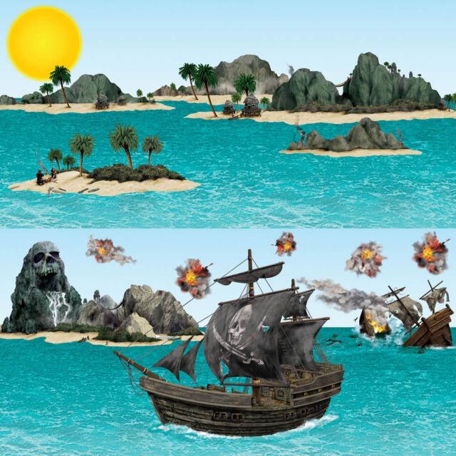 Pirate Kids Party Scene setter Ship & Island Props