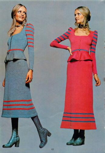 Vintage Machine knitting pattern-Twiggy models 1960s mod jacket & skirts