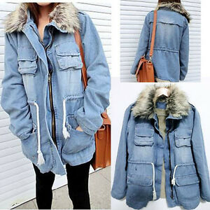 Women Thicken Jean Winter Coat Denim Faux Fur Collar Parka Warm ...