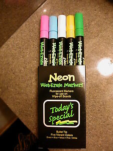 5 Pack Neon Fluorescent Marker For All Boards Glass Chalk, Touchable- Wet-Erase