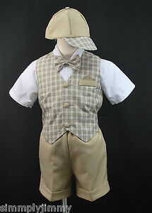 Baby Boy Toddler Easter Formal Party Eton Vest Suit New born to 4T Khaki Checks
