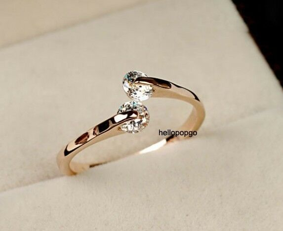 Elegant Jewelry 18K Rose Gold Gp Austrian Crystal Zircon Women Wedding Ring