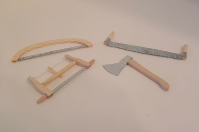 Dollhouse Accessory Miniature Working Tools Wooden Handles Set of 4
