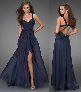 Dark-blue-chiffon-Backless-Formal-Prom-Gown-Pageant-evening-Dress-size-6-8-10-12