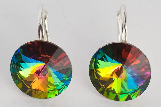 RIVOLI - GENUINE SWAROVSKI CRYSTAL EARRINGS  - 925 STERLING SILVER - many colors