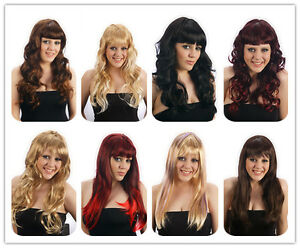 Womens-Brown-Black-Red-Blonde-Long-COSPLAY-WIG-Hair-Curly-Straight-Fancy-Dress