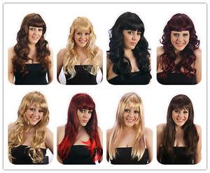 Womens-Brown-Black-Red-Blonde-Long-COSPLAY-WIG-Hair-Curly-Straight-Fancy-Dress