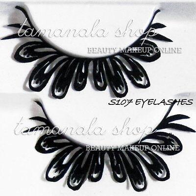 EYELASH Black Paper Handmade Fake PARTY LASH MAKEUP Salon Studio 1 Pair S107