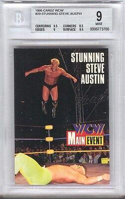 1995 STONE COLD STEVE AUSTIN Rookie Trading Card #29 MINT BGS 9 WWE WCW WWF RC