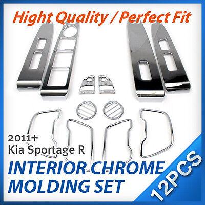 For 2011 - 2015 KIA Sportage R Interior Chrome Silver Cover Molding Trim Kit Set