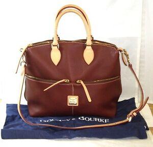 NEW-DOONEY-amp-BOURKE-LEATHER-SATCHEL-BROWN-wTan-Trim-Handbag-PURSE-Shoulder-Bag