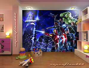 Marvel avengers heroes photo wallpaper wall mural kids for Avengers wallpaper mural