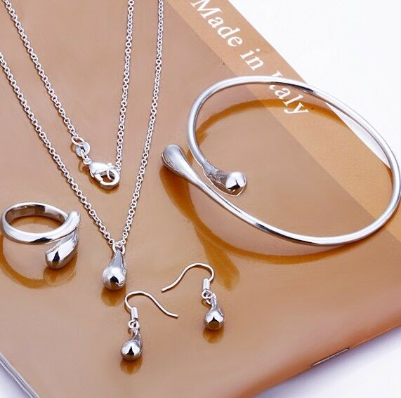 4 Pieces Set Ring Necklace Earring Bangle 925 Sterling Silver Wedding Bracelet
