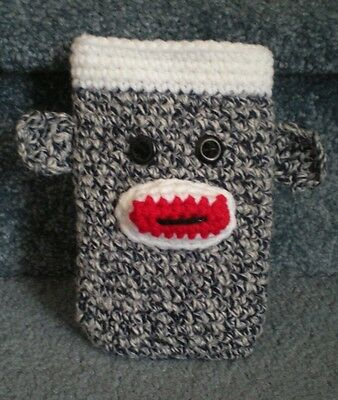 Hand Crocheted Sock Monkey Cell Phone iphone Case Cover hand made