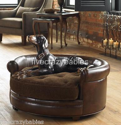 Ultra Luxury Large Dog Pet Bed Round  - Plush / Leather Neiman Marcus Classic