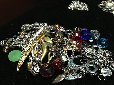 48PC Asst Large Hole Beads & End Caps, toggles, lobsters & jump rings