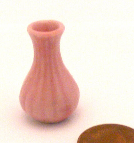 1:12 Scale Pink Ceramic Vase Dolls House Miniature Flower Ornament Accessory P34