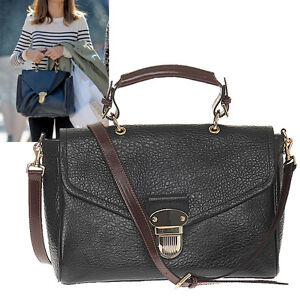 Women-039-s-Handbag-Celebrity-Polly-Push-Lock-Tote-Shoulder-Bag-Real-Buffalo-Leather